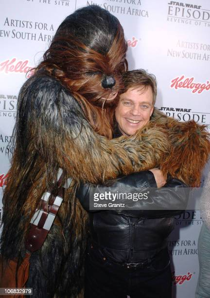 Mark Hamill and Chewbacca during 'Star Wars Episode III Revenge of The Sith' Premiere to Benefit Artists for a New South Africa Charity Arrivals at...