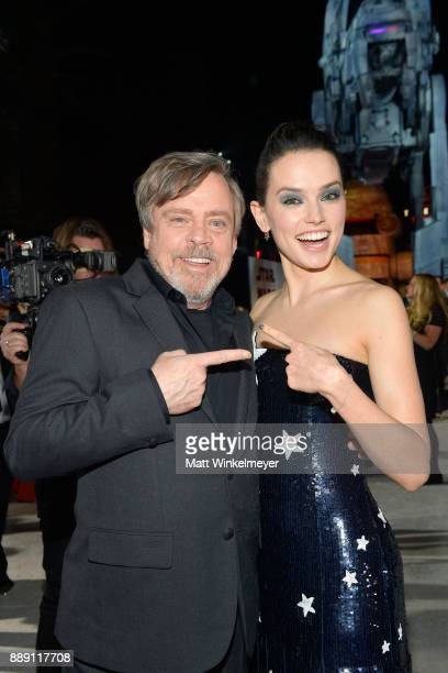 Mark Hamill and Daisy Ridley attend the premiere of Disney Pictures and Lucasfilm's 'Star Wars The Last Jedi' at The Shrine Auditorium on December 9...