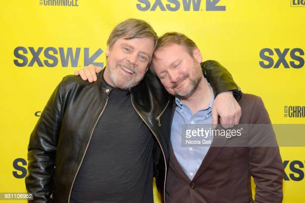 Mark Hamill and director Rian Johnson attend the Journey to Star Wars panel during SXSW at Austin Convention Center on March 12 2018 in Austin Texas