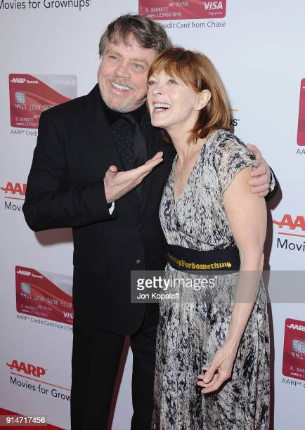 Mark Hamill and Frances Fisher attend AARP's 17th Annual Movies For Grownups Awards at the Beverly Wilshire Four Seasons Hotel on February 5 2018 in...