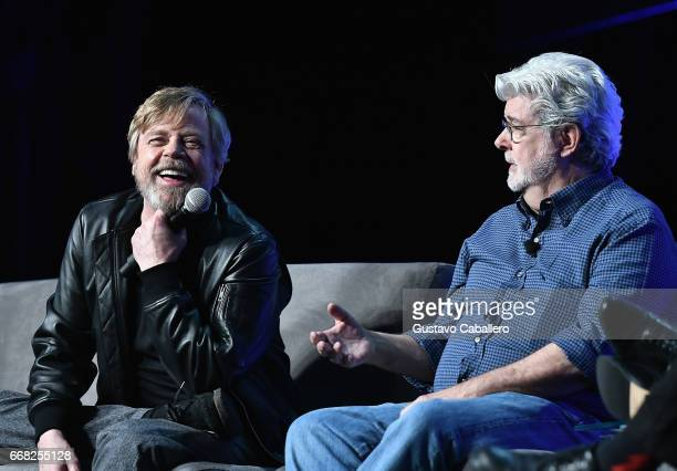 Mark Hamill and George Lucas attend the Star Wars Celebration Day 1 on April 13 2017 in Orlando Florida