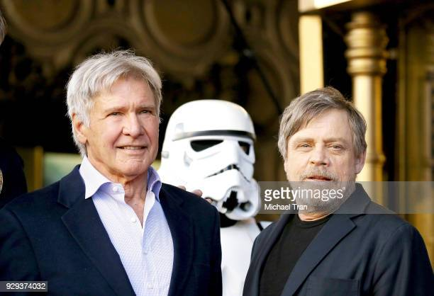 Mark Hamill and Harrison Ford attend the ceremony honoring Mark Hamill with A Star on The Hollywood Walk of Fame held in front of El Capitan Theatre...