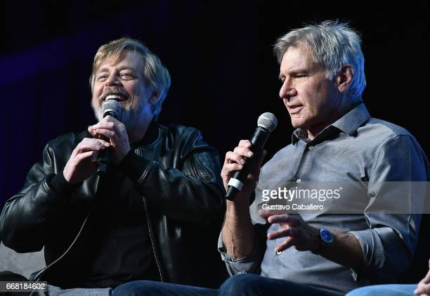 Mark Hamill and Harrison Ford attends the Star Wars Celebration day 01 on April 13 2017 in Orlando Florida
