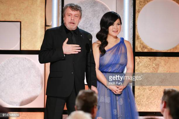 Mark Hamill and Kelly Marie Tran speak onstage at AARP's 17th Annual Movies For Grownups Awards at the Beverly Wilshire Four Seasons Hotel on...