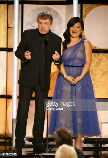 Mark Hamill and Kelly Marie Tran speak onstage during AARP's 17th Annual Movies For Grownups Awards at the Beverly Wilshire Four Seasons Hotel on...