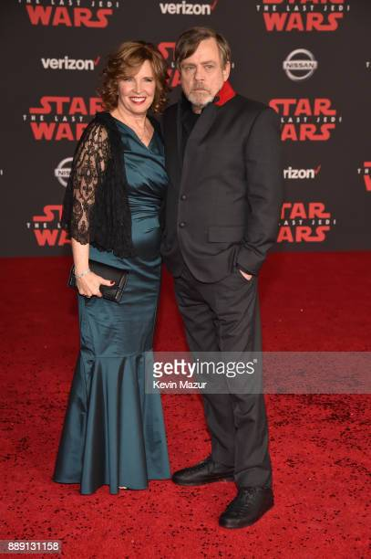 Mark Hamill and Marilou Hamill attend the premiere of Disney Pictures and Lucasfilm's 'Star Wars The Last Jedi' at The Shrine Auditorium on December...