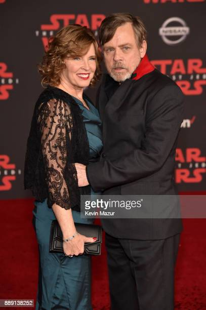 Mark Hamill and Marilou Hamill attend the premiere of Disney Pictures and Lucasfilm's Star Wars The Last Jedi at The Shrine Auditorium on December 9...