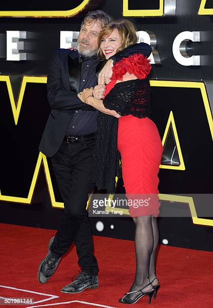 Mark Hamill and Marilou York attend the European Premiere of 'Star Wars The Force Awakens' at Leicester Square on December 16 2015 in London England