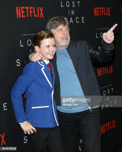 Mark Hamill and Maxwell Jenkins arrive to the Los Angeles premiere of Netflix's 'Lost In Space' Season 1 held at The Cinerama Dome on April 9 2018 in...