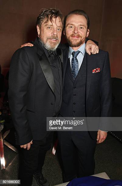 Mark Hamill and Simon Pegg attend the after party following the European Premiere of 'Star Wars The Force Awakens' at the Tate Britain on December 16...