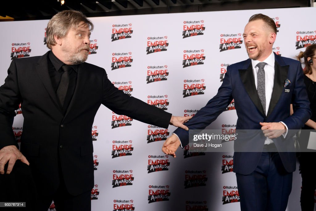 Mark Hamill (L) and Simon Pegg in the winners room at the Rakuten TV EMPIRE Awards 2018 at The Roundhouse on March 18, 2018 in London, England.