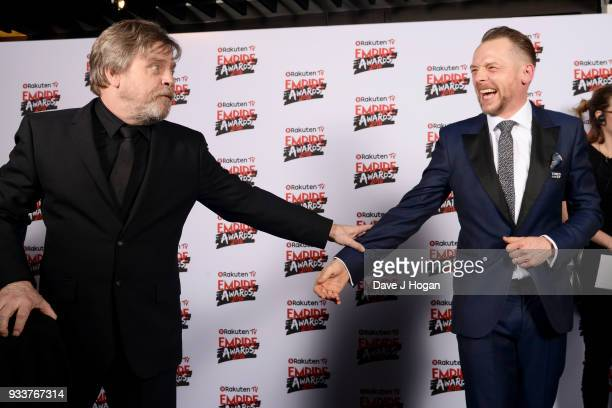 Mark Hamill and Simon Pegg in the winners room at the Rakuten TV EMPIRE Awards 2018 at The Roundhouse on March 18 2018 in London England