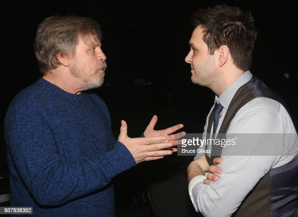 Mark Hamill and Writer/Performer Derek GelGaudio chat backstage at the hit illusion play 'In Of Itself' at The Daryl Roth Theatre on March 25 2018 in...