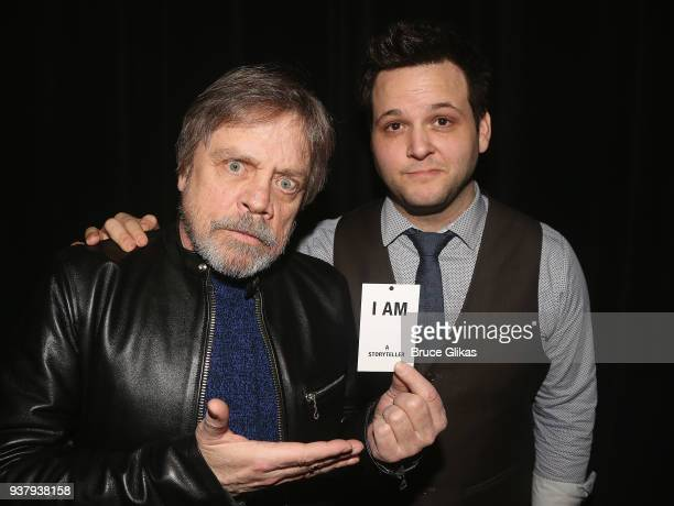 Mark Hamill and Writer/Performer Derek GelGaudio pose backstage at the hit illusion play 'In Of Itself' at The Daryl Roth Theatre on March 25 2018 in...