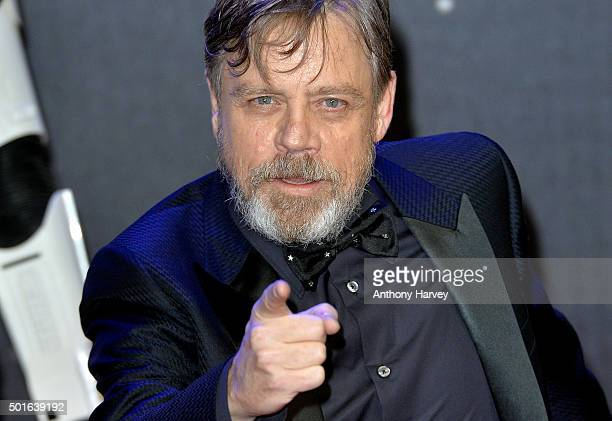"""Mark Hamill attends the European Premiere of """"Star Wars: The Force Awakens"""" at Leicester Square on December 16, 2015 in London, England."""