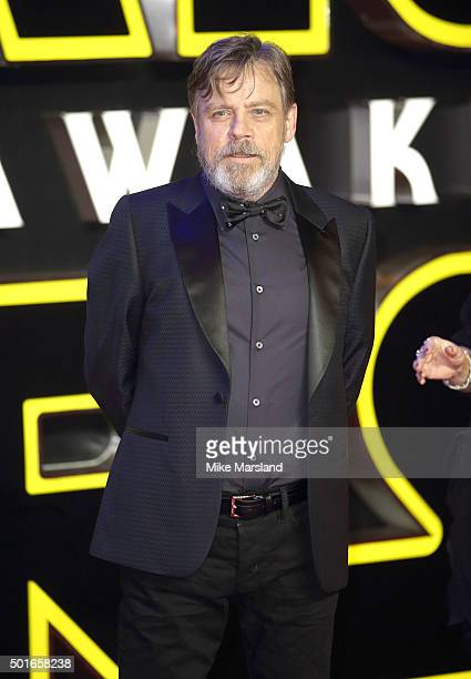 Mark Hamill attends the European Premiere of 'Star Wars The Force Awakens' at Leicester Square on December 16 2015 in London England
