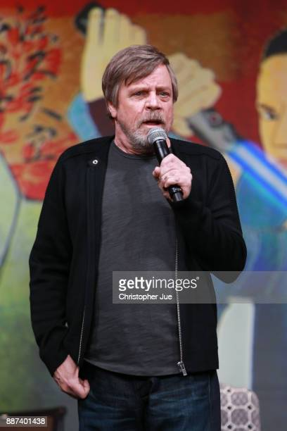 Mark Hamill attends the 'Star Wars The Last Jedi' press conference at the Ritz Carlton Tokyo on December 7 2017 in Tokyo Japan