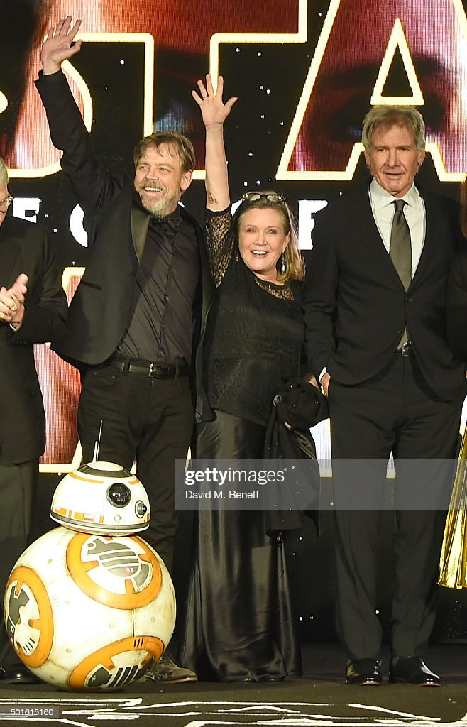 Mark Hamill, Carrie Fisher and Harrison Ford attend the European Premiere of 'Star Wars: The Force Awakens' in Leicester Square on December 16, 2015 in London, England.