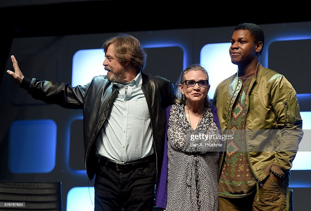 Mark Hamill, Carrie Fisher and John Boyega on stage during Future Directors Panel at the Star Wars Celebration 2016 at ExCel on July 17, 2016 in London, England.