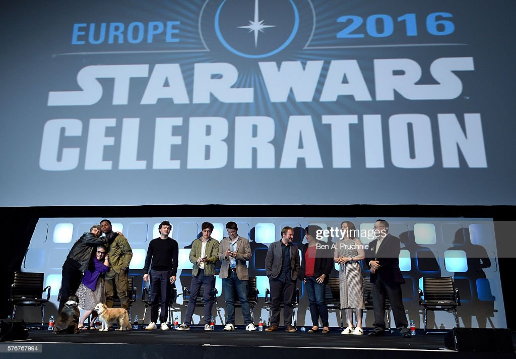 Mark Hamill, Carrie Fisher, John Boyega, Alden Ehrenreich, Phil Lord, Chris Miller, Rian Johnson, Kiri Hart, Kathleen Kennedy and Pablo Hidalgo on stage during Future Directors Panel at the Star Wars Celebration 2016 at ExCel on July 17, 2016 in London, England.