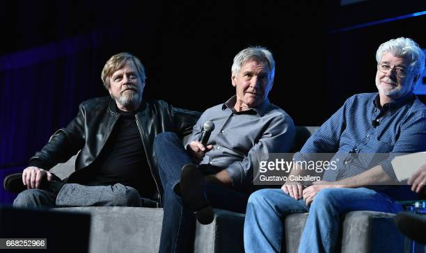 Mark Hamill Harrison Ford and George Lucas attend the Star Wars Celebration Day 1 on April 13 2017 in Orlando Florida