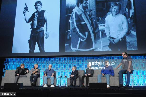 Mark Hamill Harrison Ford George Lucas Warwick Davis Anthony Daniels Billy Dee Williams and Peter Mayhew attend the 40 Years of Star Wars panel...