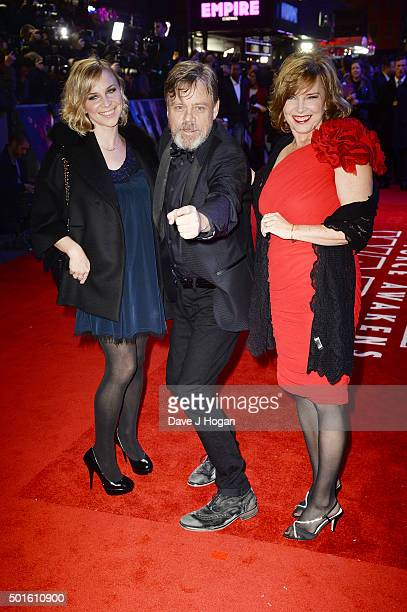 "Mark Hamill , Marilou York and daughter Chelsea attend the European Premiere of ""Star Wars: The Force Awakens"" at Leicester Square on December 16,..."