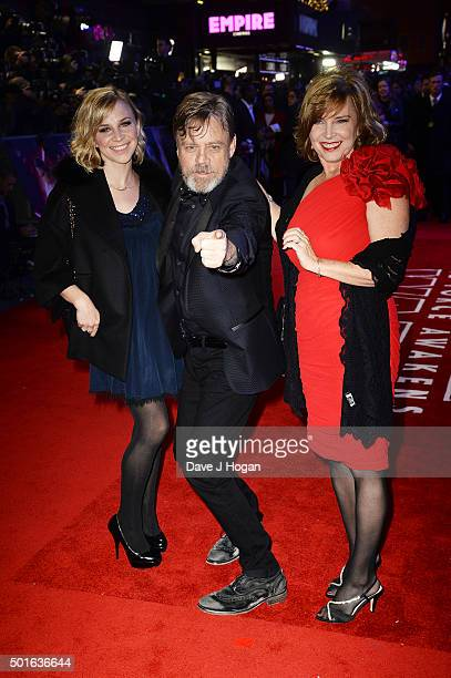 Mark Hamill Marilou York and daughter Chelsea attend the European Premiere of Star Wars The Force Awakens at Leicester Square on December 16 2015 in...