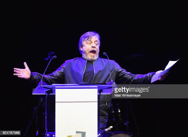 Mark Hamill performs onstage at NETAPORTER and MR PORTER partner with Letters Live on February 26 2018 in Los Angeles California