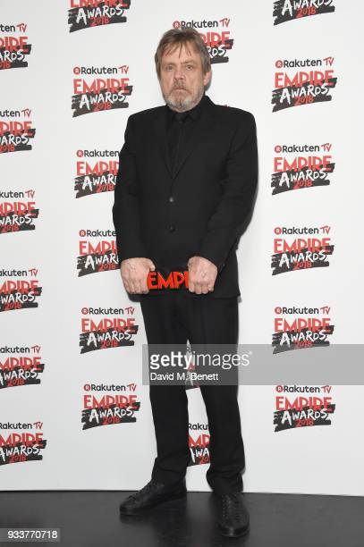 Mark Hamill poses in the winners room at the Rakuten TV EMPIRE Awards 2018 at The Roundhouse on March 18 2018 in London England