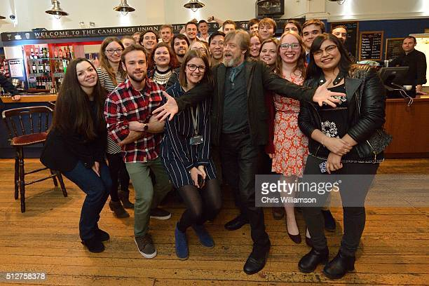 Mark Hamill poses with students after addressing the Cambridge Union at The Cambridge Union on February 27 2016 in Cambridge Cambridgeshire The...