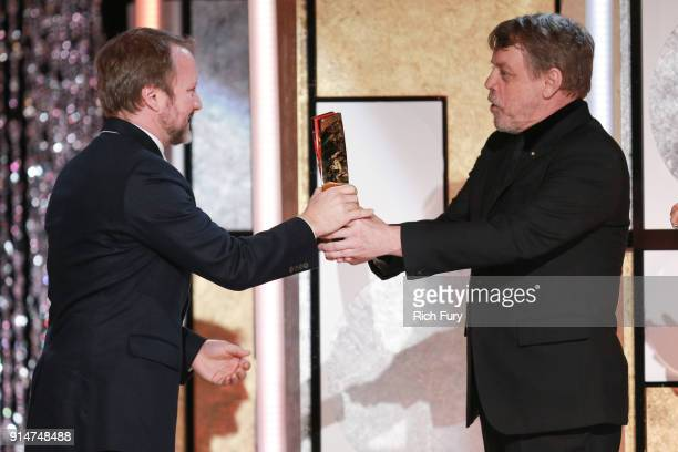 Mark Hamill presents RianÊJohnson the award for Best Movie for Grownups at AARP's 17th Annual Movies For Grownups Awards at the Beverly Wilshire Four...