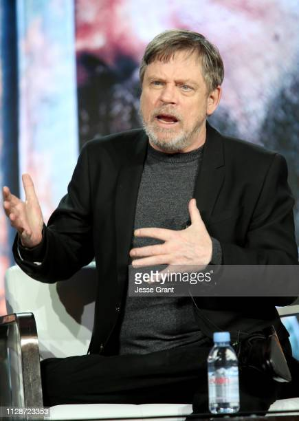 Mark Hamill speaks during HISTORY's 'Knightfall' presented by Mark Hamill Tom Cullen and Aaron Helbing at the 2019 Winter Television Critics...