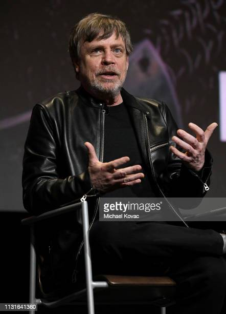 Mark Hamill speaks onstage at the Knightfall For Your Consideration Event in Los Angeles on March 19 2019 in Los Angeles California