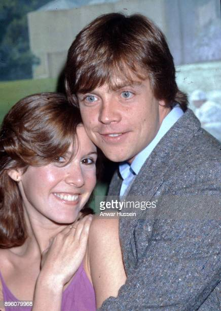 Mark Hamill who plays Luke Skywalker in Star Wars with co star Carrie Fisher during a visit to London on January 01 1979 in London England
