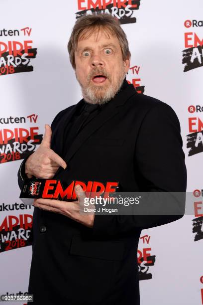 Mark Hamill winner of the Best Film award for 'Star Wars The Last Jedi' poses in the winners room at the Rakuten TV EMPIRE Awards 2018 at The...