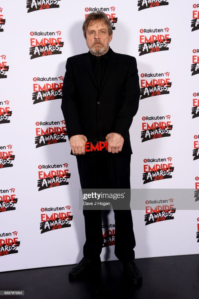 Mark Hamill, winner of the Best Film award for 'Star Wars: The Last Jedi', poses in the winners room at the Rakuten TV EMPIRE Awards 2018 at The Roundhouse on March 18, 2018 in London, England.