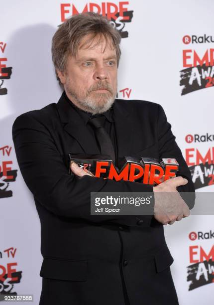 Mark Hamill winner of the Empire Icon award poses in the winners room at the Rakuten TV EMPIRE Awards 2018 at The Roundhouse on March 18 2018 in...