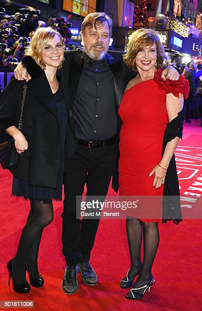 Mark Hamill with daugher Chelsea Hamill and wife Marilou York attend the European Premiere of Star Wars The Force Awakens in Leicester Square on...