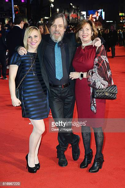 "Mark Hamill with daughter Chelsea Hamill and wife Marilou York attend the European Premiere of ""Batman V Superman: Dawn Of Justice"" at Odeon..."