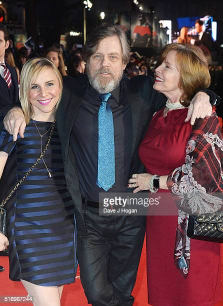 Mark Hamill with daughter Chelsea Hamill and wife Marilou York attend the European Premiere of Batman V Superman Dawn Of Justice at Odeon Leicester...