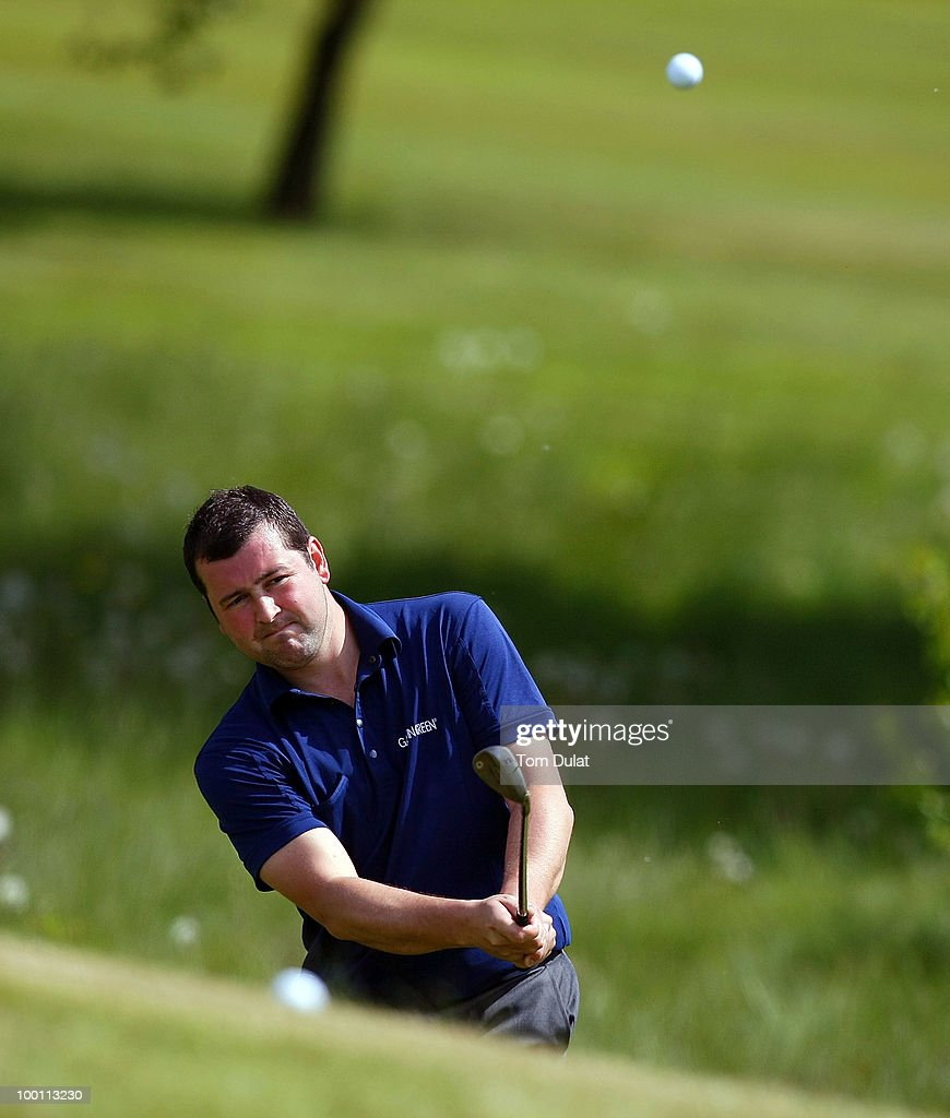 Mark Hancock of Bolton Old Links chips onto the 7th green during the Virgin Atlantic PGA National Pro-Am Championship Regional Qualifier at Dunham Forest Golf and Country Club on May 21, 2010 in Manchester, England.