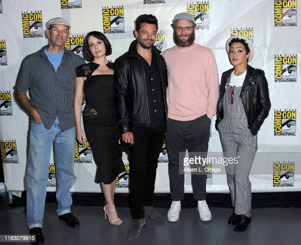 Mark Harelik Julie Ann Emery Dominic Cooper Seth Rogen and Ruth Negga attend the Preacher Panel during 2019 ComicCon International at San Diego...