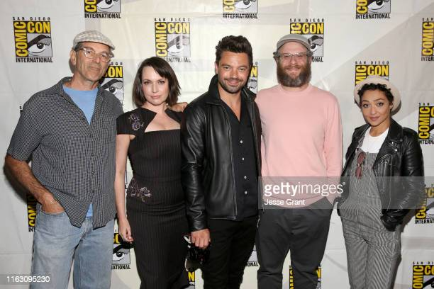 Mark Harelik Julie Ann Emery Dominic Cooper Seth Rogen and Ruth Negga attend the Preacher Panel at Comic Con 2019 on July 19 2019 in San Diego...