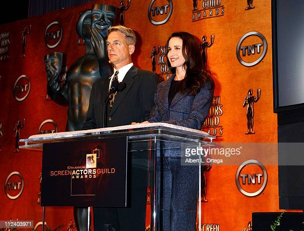 Mark Harmon and Andie MacDowell during Nominations for The 10th Annual Screen Actors Guild Awards at Pacific Design Center's SilverScreen Theater in...