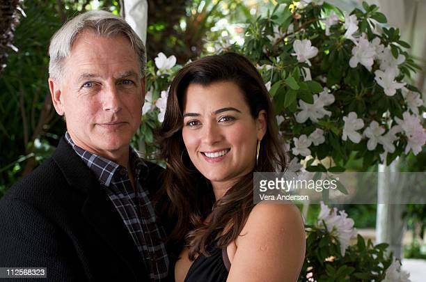 Mark Harmon and Cote de Pablo at the NCIS press conference at the Four Seasons Hotel on April 22 2009 in Beverly Hills California
