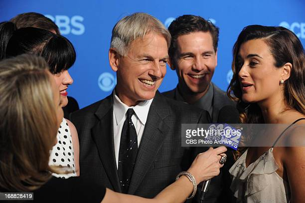Mark Harmon Brian Dietzen and Cote de Pablo of the hit CBS show NCIS on the red carpet at CBS's Upfront party at New York's Lincoln Center following...
