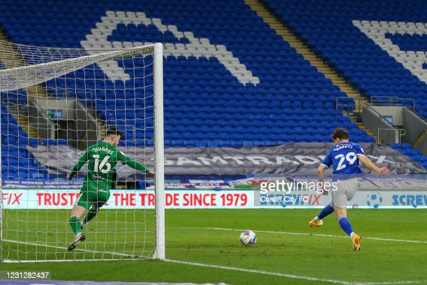 Mark Harris scores the fourth goal for Cardiff City FC during the Sky Bet Championship match between Cardiff City and Preston North End at Cardiff...
