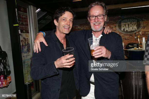 Mark Hart and John Helliwell former Supertramp attend the Man Doki Soulmates concert during tthe Sziget Festival at Budapest Park on August 8 2017 in...