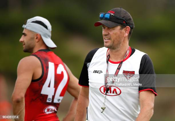 Mark Harvey Line Coach of the Bombers looks on during the Essendon Bombers training session at The Hangar on January 12 2018 in Melbourne Australia